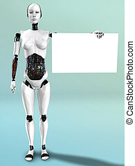 Robot woman holding blank sign.