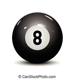 Billiard eight ball isolated on white background Vector...