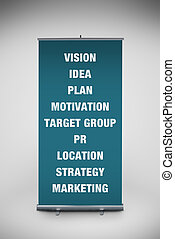 Business keywords on roll up banner - Business keywords...