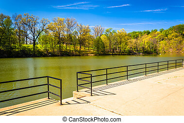 Lake Roland at Robert E Lee Memorial Park in Baltimore,...