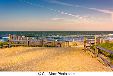 Path to the Atlantic Ocean in Atlantic City, New Jersey. -...
