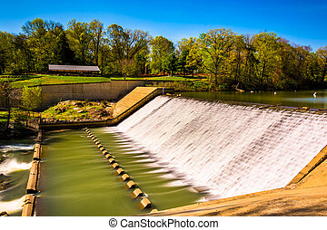 Dam on Lake Roland at Robert E. Lee Memorial Park in...