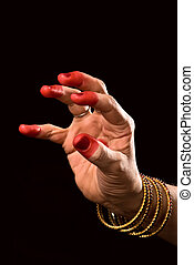 Padmakosha hasta of indian dance Bharata Natyam - Woman hand...