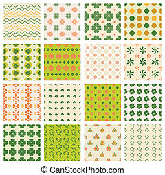 seamless patterns with clover - vector seamless patterns set...