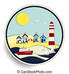 seascape with lighthouse and ships badge - Round vector...
