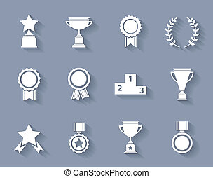 Set of award success and victory icons - Set of white vector...