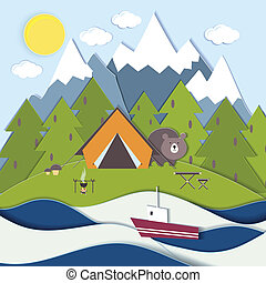 Picnic on the shore of a mountain lake - Vector landscape...