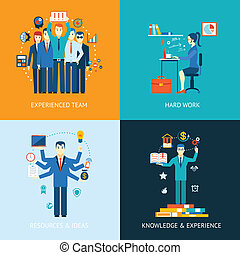 Teamwork and human resources - Flat design concept icons for...