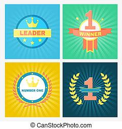 Flat vector winner emblems - Flat circular vector winner...