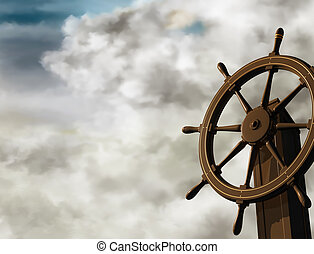 Steer a steady course - Illustration of a ships wheel at an...