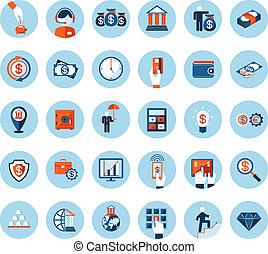 Finance and banking icons in colored flat style