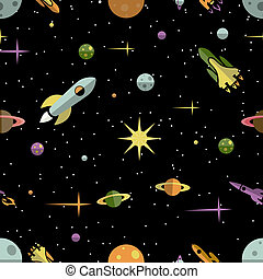 Seamless pattern with planets rockets and stars - Seamless...