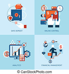 Financial online banking and payment control - Vector icons...
