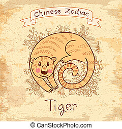 Vintage card with Chinese zodiac -nbsp;Tiger - Vintage card...