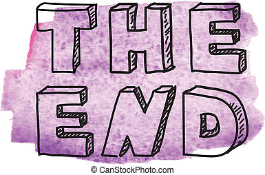 "Inscription ""The end"" on purple watercolor background"