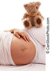 pregnant woman on a white background - a pregnant woman on a...
