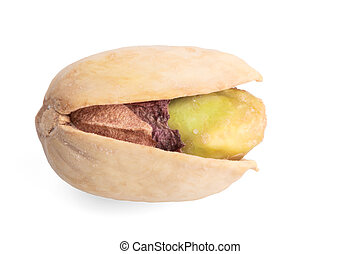Single pistachio nut isolated background