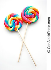 Rainbow Colored Lollipop - Two Rainbow Colored Lollipops
