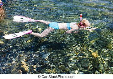 little girl snorkeling in Mediterranean Sea