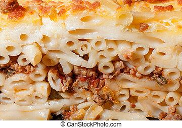 Pastitsio - Greek layered, baked pasta dish - Closeup of...