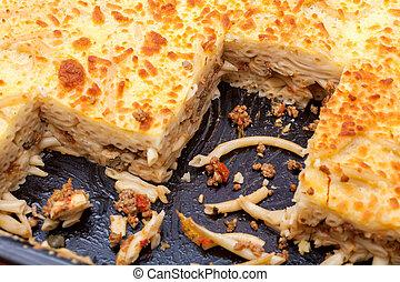 Pastitsio - Greek layered, baked pasta dish - Pastitsio in...