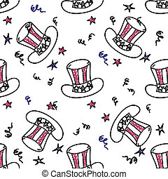 Holiday american hat seamless pattern