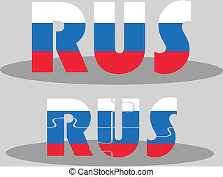 Russian Flag in puzzle isolated on white background