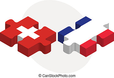 Swiss and French Flags in puzzle