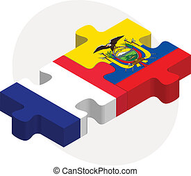 French and Ecuador Flags in puzzle