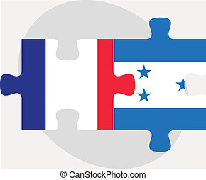 French and Honduras Flags in puzzle