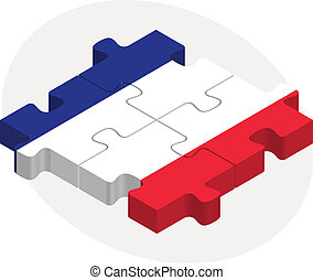 French Flag in puzzle isolated on white background