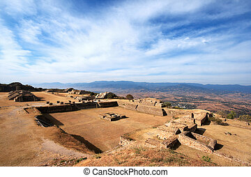 Panorama of sacred site Monte Alban in Mexico - Panorama of...