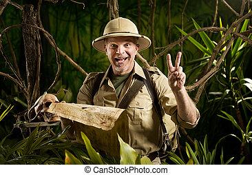 Successful adventurer in the jungle - Successful pioneer in...