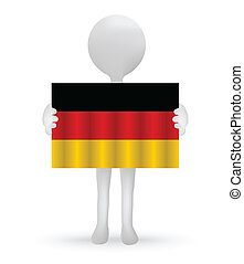 small 3d man holding a German Flag