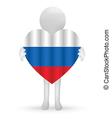 small 3d man holding a Russian Flag