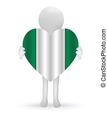 small 3d man holding a Nigerian Flag
