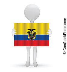 small 3d man holding a Ecuador Flag