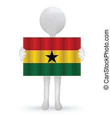 small 3d man holding a Ghanaian Flag