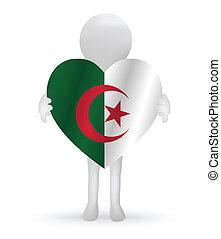 small 3d man holding a Algerian Flag - EPS Vector 10 - small...