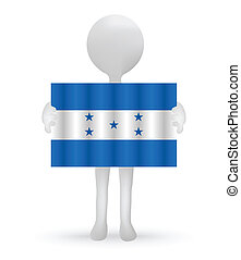 small 3d man holding a Honduras Flag