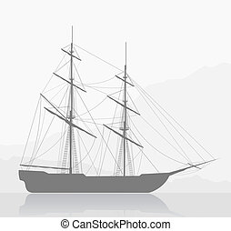 sailing ship - Large sailing ship. Detailed vector...