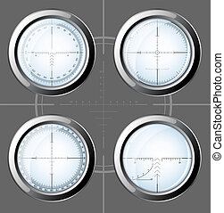 Set of sniper scopes over grey background.