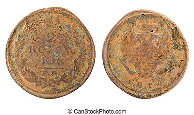 Russian coin - Old copper Russian coin on white background....