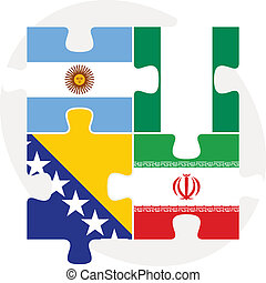 Argentinian, Iranian, Bosnia Herzegovinan and Nigerian Flags...