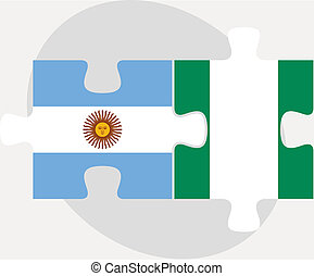 Argentinian and Nigerian Flags in puzzle - Vector...