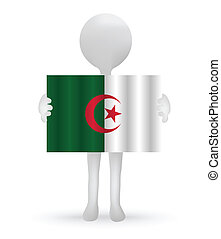 small 3d man holding a Algerian Flag - EPS Vector 10 - small...