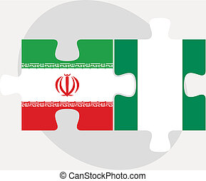 Iranian and Nigerian Flags in puzzle - Vector illustration...