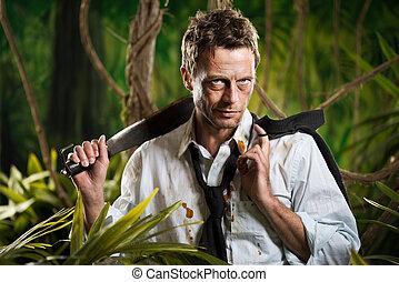 Surviving business jungle - Attractive confident businessman...