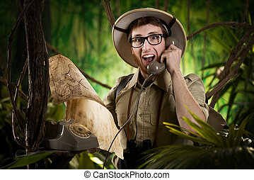 Phone information service in the wilderness - Young retro...