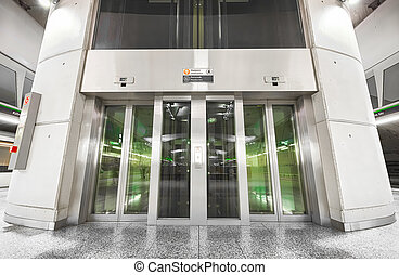 subway station interior, elevator